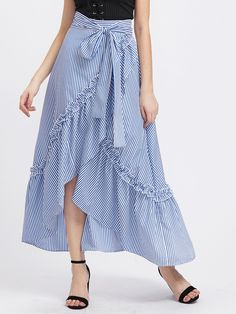 Shop Self Belt Ruffle Trim Striped Overlap Skirt online. SheIn offers Self Belt Ruffle Trim Striped Overlap Skirt & more to fit your fashionable needs. Blue Skirt Outfits, Dress Outfits, Marine Look, Trendy Fall Outfits, Cute Skirts, Affordable Clothes, Mode Outfits, Ruffle Trim, Aesthetic Clothes