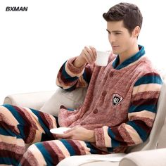 BXMAN Brand Men's New Pijamas Hombre Casual Pajamas Polyester Striped Full Sleeve Flannel Pajamas For Men 82