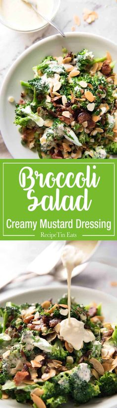 Broccoli Salad with Sour Cream Dressing - No more boring broccoli! Tossed with a gorgeous mayo-free creamy dressing. Broccoli Salad with Sour Cream Dressing Chelsea's Messy Apron chelsealords Comfort Food! Broccoli Salad with S Salad Recipes Video, Healthy Salad Recipes, Coleslaw Recipes, Healthy Dinners, Vegetarian Recipes, Sour Cream, Cream Cream, Brocolli Salad, Salad Toppings