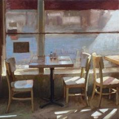Tables by a Window: Paul Schulenburg Yellow Paint Colors, Inside Art, Interior Design Software, Cafe Art, Amazing Paintings, Oil Painters, Through The Window, Retro Art, Watercolor Illustration