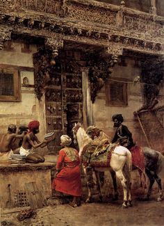 """Edwin Lord Weeks. (1849-1903) Craftsman Selling Cases by a Teak Wood Building, Ahmedabad, Oil on canvas, c1885, 73 x 99.7 cm (28.74"""" x 3' 3¼"""") Private collection"""