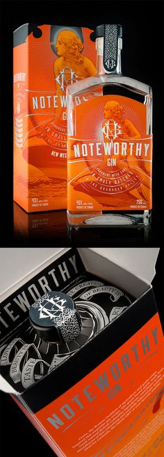 Noteworthy Gin Packaging by Hired Guns Creative