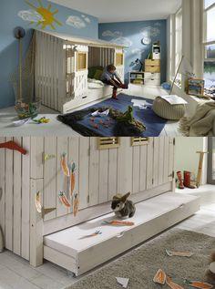 cooles Bett Beach-Hütte | Mit diesem Einzelbett aus massiver, weiß lasierter Kiefer, zauberst du ein geheimnisvolles Strandfeeling ins Kinderzimmer. Das Bett vereint außergewöhnliches Design, Qualität und Sicherheit. #childrensroom #bed #Strandhütte #Urlaubsfeeling #MoebelLETZ