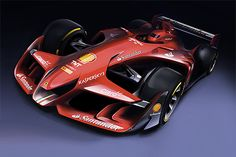 """Ferrari has revealed images of a Formula 1 concept car in an effort to fuel debate about how the sport's racing cars should look like in the future. Accompanying the renderings is Ferrari posing the question """"Would it be possible to come up with […] Ferrari F1, Carros Ferrari, Logo Ferrari, Ferrari Black, Ferrari Spider, Ferrari Racing, Auto Motor Sport, Sport Cars, Race Cars"""