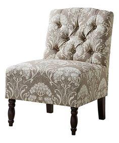 Look at this #zulilyfind! Taupe Damask Tufted Armless Chair #zulilyfinds