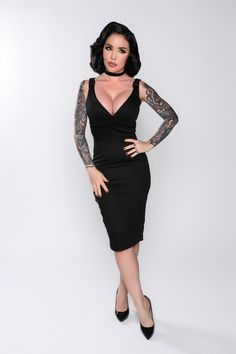 Leanna Wiggle Dress in Black   Vintage Style Cocktail Dress   Pinup Girl Clothing