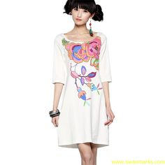 Liebo 2012 New Pima Cotton Printing Knitted Above-elbow Sleeve Dress