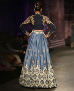 Dark Blue Lengha Set with Embroidered Motifs - Anju Modi - Designers