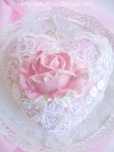 Shabby Lace Rose Heart Ornament