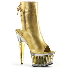 Pleaser ILLUSION-1018CH Gold Metallic Pu Ankle Boots With Gold Chrome Platform