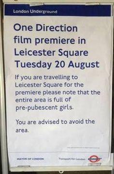London Underground notice on One Direction film premiere.