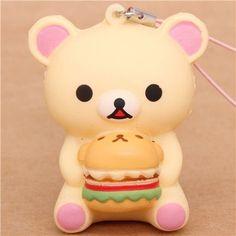 Rilakkuma white bear with hamburger squishy cellphone charm San-X http://www.amazon.com/dp/B00HWZ2KIG/ref=cm_sw_r_pi_dp_LCx8tb01S46B5