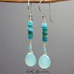 Apatite and Chalcedony Earrings