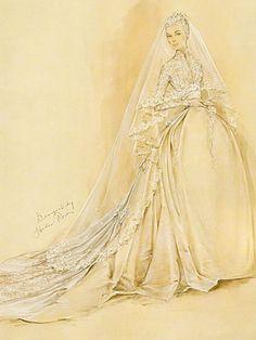 Sketch of Princess Grace of Monaco's dress by designer Helen Rose