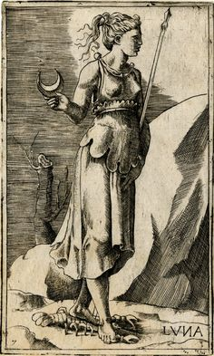 Luna Roman Goddess of the Moon Print made by Giulio Bonasone Formerly attributed to Georges Reverdy Tarot, Arte Obscura, Landsknecht, Occult Art, Mystique, Moon Goddess, Gods And Goddesses, British Museum, Deities