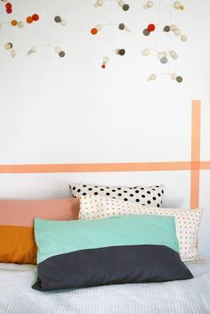 Color in Every Room:  9 Quick & Colorful DIY Projects  great pillowcases