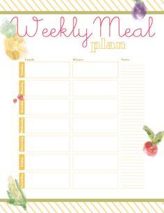 Printable Meal Planner - Designs By Miss Mandee*