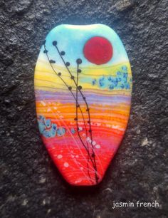 jasmin french  ' afterglow '  lampwork focal bead by jasminfrench