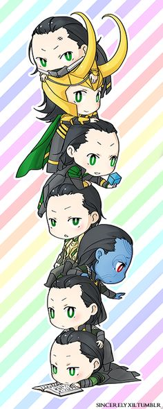 Little Lokis! I think i might make this into a new bookmark :) SO ADORABLE