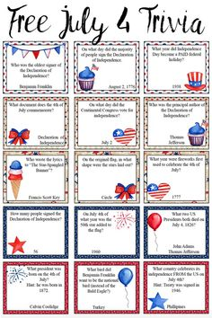 Free Printable of July Trivia. Add some fun to any July with free printable Fourth of July trivia. 4th Of July Trivia, Fourth Of July Decor, 4th Of July Celebration, 4th Of July Decorations, 4th Of July Party, July 4th, Declaration Of Independence, Independence Day, July Game