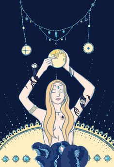 #woman #moon #night #gold #jewellery #ocean #air #blue #crystal #spiritual #illustration #spider #planets #cosmic #graphic #design Space Girl, Woman Illustration, Gold Jewellery, Cosmic, Spider, Planets, Spirituality, Moon, Ocean