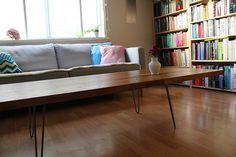 diy coffee table:  solid oak kitchen countertop + hairpinlegs.com