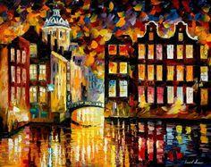 """Pensativo Amsterdam, óleo sobre lienzo por Leonid Afremov. Arte de paisaje urbano de la pared, decoración de la pared de Holanda, ciudad de arte, tamaño: 30 """"X 24"""" pulgadas"""