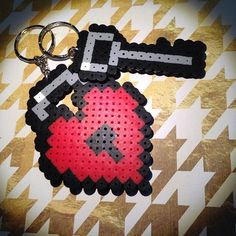 Heart and key keychains hama beads ny clementinainventa