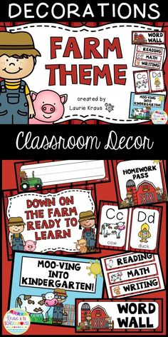 This farm themed decor will enhance your room and make it an inviting place for your students. Welcome back to school your students and parents with this adorable themed classroom with certificates, nameplates, posters, subject headings, homework and lunch bunch passes, desk fairy notices, birthday decor, monthly headings, word wall letters, alphabet letters, and hall passes.