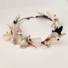 Butterfly Tiara, Fairy Hair Wreath Earth tones by jewelera on Etsy https://www.etsy.com/listing/189681697/butterfly-tiara-fairy-hair-wreath-earth