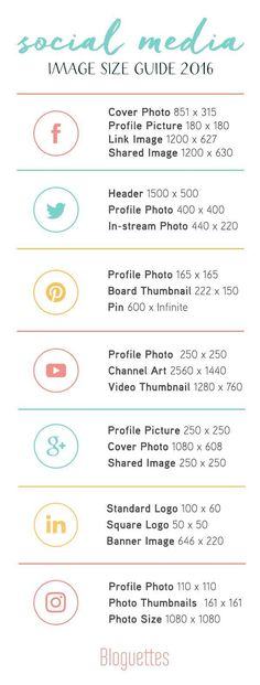 Social Media Image Size Guide for 2016! #socialmedia