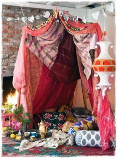 Meditation canopy with fabrics.