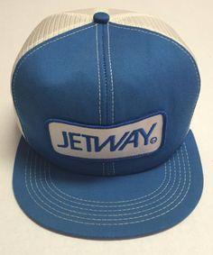 4da6bf79c456a Vtg Jetway Trucker Hat Airplanes Passenger Cap Bridge Made In The USA  Aviation