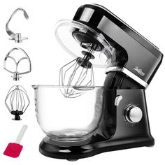 Betitay Electric Stand Mixer,Baking Mixer with Visual Glass Bowl QT Large Speed Bread Mixers with Splash Guard, Mixing Beater, Whisk, Dough Hook and Silicone Brush(Black/Glass) Baking Mixer, Baking Set, Stainless Kitchen, Stainless Steel Bowl, Dough Kneading Machine, Bread Mixer, Best Stand Mixer, Head Stand, Kitchen Aid Mixer