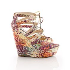 multi colored chevron wedge
