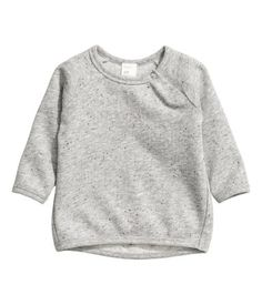 Gray melange. BABY EXCLUSIVE/CONSCIOUS. Top in melange sweatshirt fabric with a nepped texture. Snap fasteners at front, long raglan sleeves, and narrow