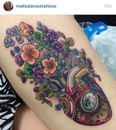 Steampunk heart nature flower tattoo