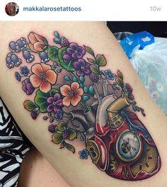Steampunk heart nature flower tattoo