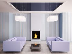 Blaues Wohnzimmer mit kamin 3d