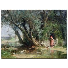 The Duck Pond by Wouter Kniff Painting Print on Wrapped Canvas