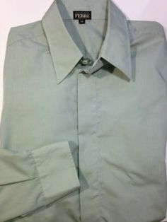 Gianfranco Ferre L s Shirt Button Down Collar Made in Italy Green XL US 17 5 | eBay