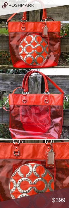Coach 15021 Red Transparent Clear Tote Colette Bag This is a very rare beach bag!  This is a gorgeous clear, red, large tote bag in pretty good condition.  It does show some signs of wear—the middle c portion is wrinkling toward bottom—see picture.  There's some small surface scratches and one thread loose on the side but sturdy (see picture)—Gorgeous and in overall great condition.    Check out my hundreds of other listings!!!!! Coach Bags Totes