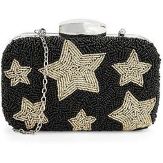 La Regale Beaded Star Minaudiere ($118) ❤ liked on Polyvore featuring bags, handbags, clutches, beaded clutches, vegan handbags, faux leather purse, black faux leather purse and black beaded handbag