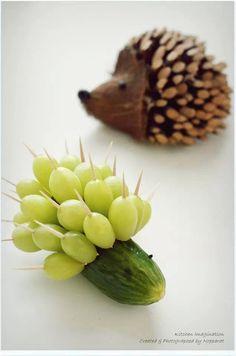 Cucumber and grapes Hedgehog
