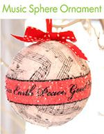 DIY Ornament  - instead of sheet music we could use book pages and the middle could be your monogram and wedding date