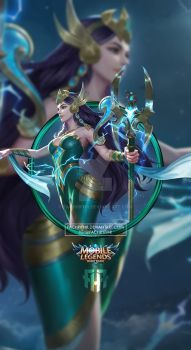 Wallpaper Phone Kadita Ocean Goddess by FachriFHR on DeviantArt 3d Wallpaper For Mobile, Wallpaper Hp, Mobile Legend Wallpaper, Bruno Mobile Legends, Mobiles, Alucard Mobile Legends, Moba Legends, Golden Warriors, Legend Games