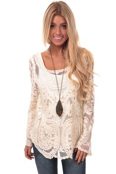 f7ff69060021 Crochet Lace Long Sleeve Top Cute Boutiques