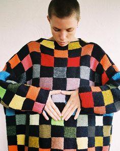Patchwork Ends Jumper, handknitted with NZ Merino Wool, Possum, Silk, Cotton, Organic Cotton, Mohair, Alpaca http://shop.harrywere.com
