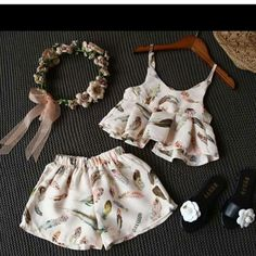 Online shopping from a great selection at International Shipping Baby Store. Kids Dress Wear, Little Girl Outfits, Little Girl Dresses, Baby Outfits, Kids Outfits, Baby Girl Fashion, Kids Fashion, Look Fashion, Baby Dress Design