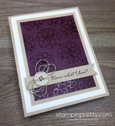 What I Love stamp set is the foundation of this simple card created by Mary Fish, Stampin' Up! Demonstrator.  1000+ StampinUp & SUO card ideas.  Read more http://stampinpretty.com/2016/03/asked-blackberry-bliss.html